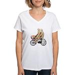 Two on Bike Picnic Basket Women's V-Neck T-Shirt