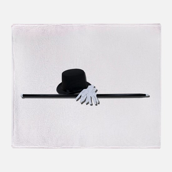 Top Hat Black Cane White Glov Throw Blanket