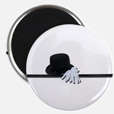 "Top Hat Black Cane White Glov 2.25"" Magnet (100 pa"