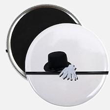 "Top Hat Black Cane White Glov 2.25"" Magnet (10 pac"