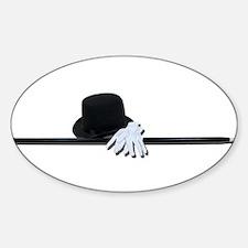 Top Hat Black Cane White Glov Sticker (Oval)