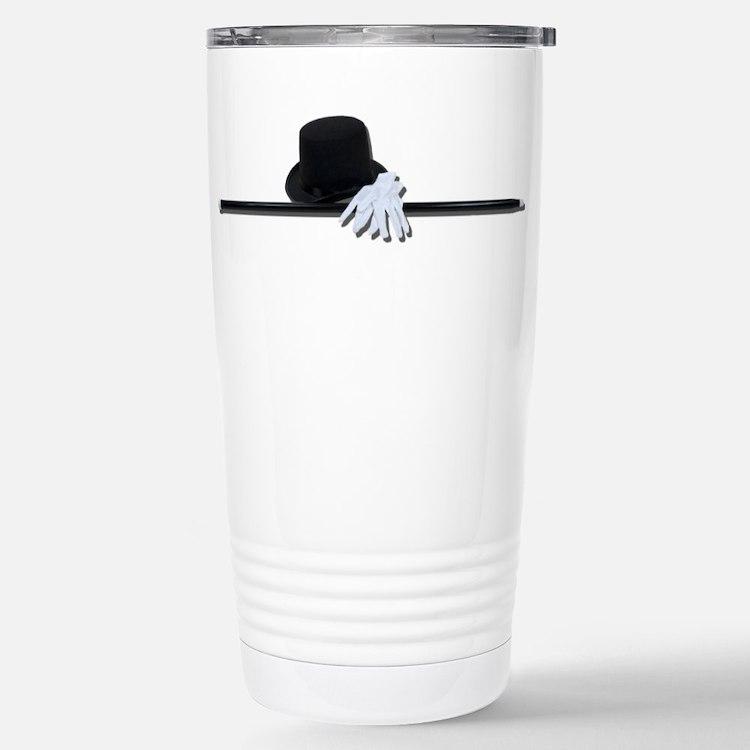 Top Hat Black Cane White Glov Stainless Steel Trav