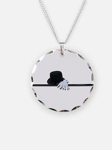 Top Hat Black Cane White Glov Necklace