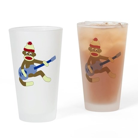Sock Monkey Blue Guitar Drinking Glass