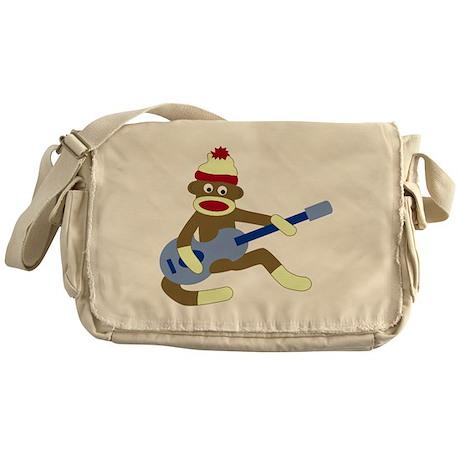Sock Monkey Blue Guitar Messenger Bag