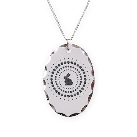 Rabbit Chrome Studs Necklace Oval Charm