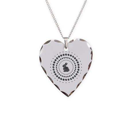 Rabbit Chrome Studs Necklace Heart Charm