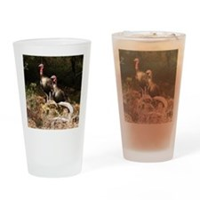 Two Turkeys on a Log Drinking Glass