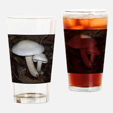 White Mushrooms Drinking Glass