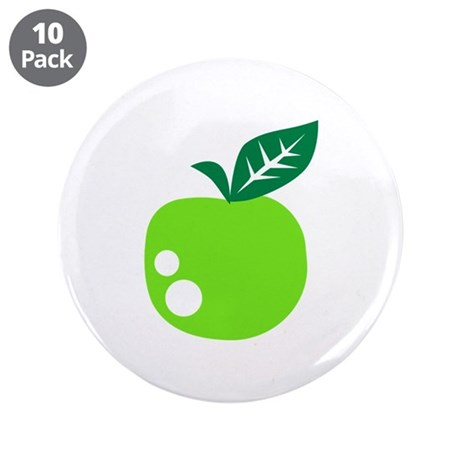"Green apple 3.5"" Button (10 pack)"