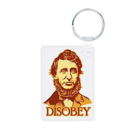 """Thoreau """"Disobey"""" Aluminum Photo Keychain"""