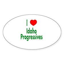 I Love Idaho Progressives Oval Decal