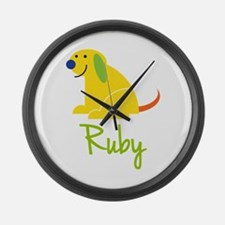 Ruby Loves Puppies Large Wall Clock