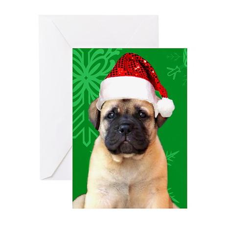 Christmas Bullmastiff puppy Greeting Cards (Pk of