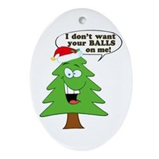 Funny Merry Christmas tree Ornament (Oval)