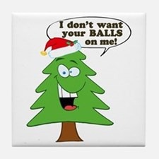 Funny Merry Christmas tree Tile Coaster