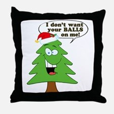 Funny Merry Christmas tree Throw Pillow