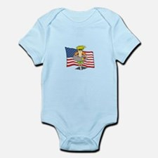 Cute Usa swimming Infant Bodysuit
