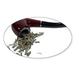 Smoking Pipe Green Leaves Sticker (Oval 10 pk)