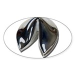 Silver Fortune Cookie Sticker (Oval 10 pk)