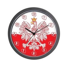 Polish Eagle Outlined In Red Wall Clock