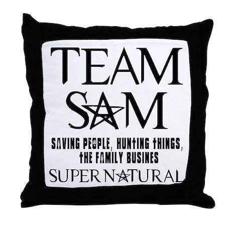 Team Sam Supernatural Throw Pillow