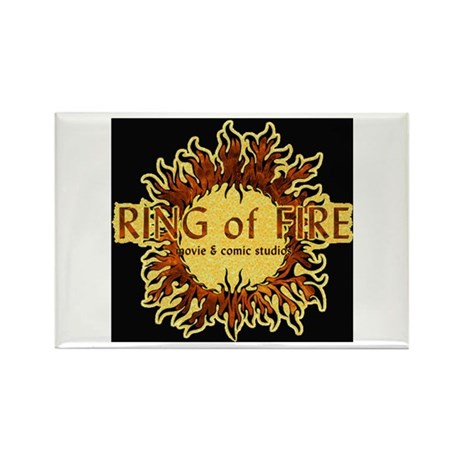 Sun Fire BLACK logo Rectangle Magnet