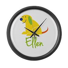 Ellen Loves Puppies Large Wall Clock