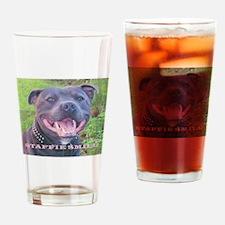 Cute Staffordshire dog Drinking Glass