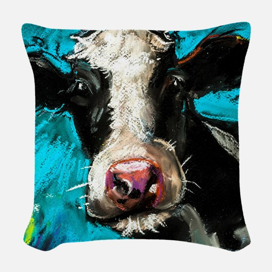 Cow Painting Woven Throw Pillow