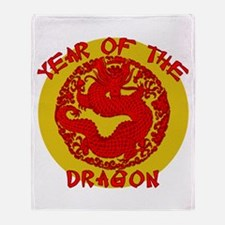 Red & Gold Yr of the Dragon Throw Blanket