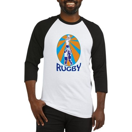 rugby line out Baseball Jersey