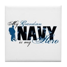 Grandson Hero3 - Navy Tile Coaster