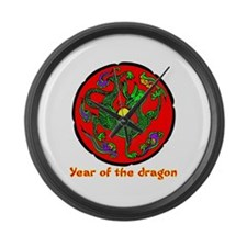 Multicolor Year of the Dragon Large Wall Clock