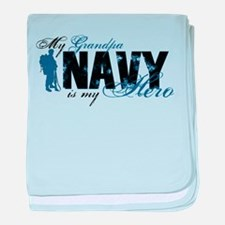 Grandpa Hero3 - Navy baby blanket