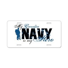 Grandpa Hero3 - Navy Aluminum License Plate