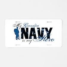 Grandpa Hero3 - Navy Aluminum License Plate