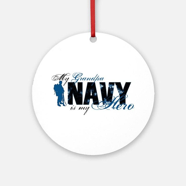 Grandpa Hero3 - Navy Ornament (Round)
