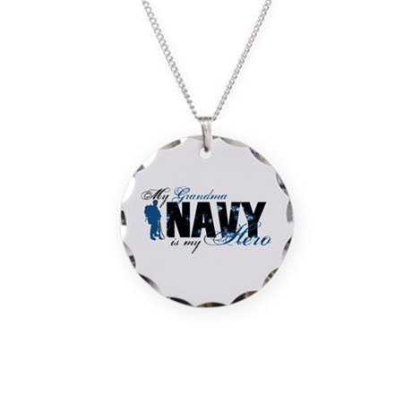 Grandma Hero3 - Navy Necklace Circle Charm