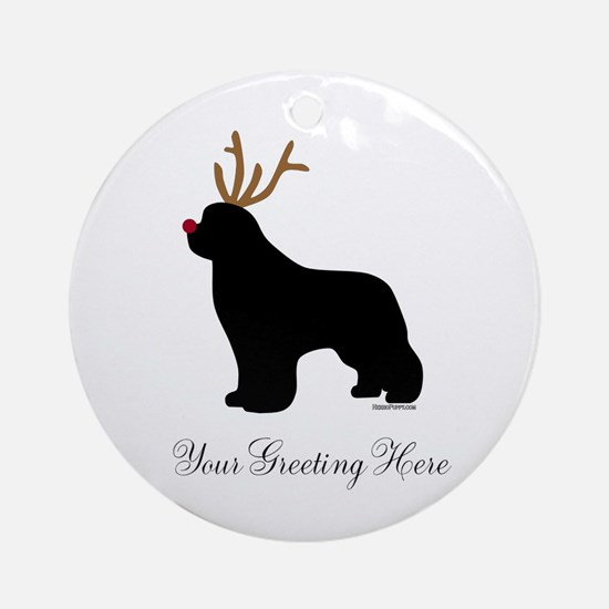 Reindeer Newf - Your Text Ornament (Round)