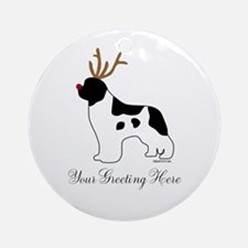 Reindeer Landseer - Your Text Ornament (Round)