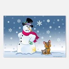 Yorkshire Terrier and Snowman Postcards (Package o