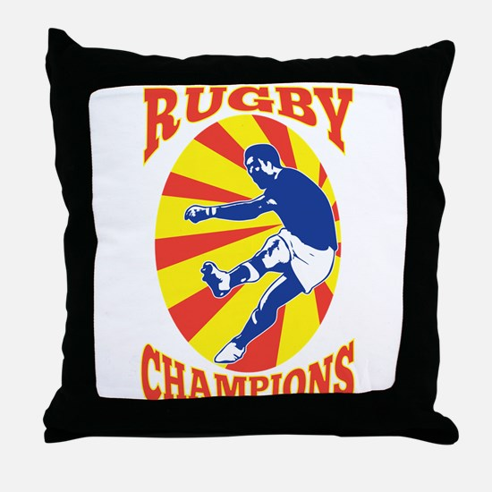 rugby player retro Throw Pillow