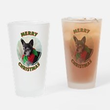 Merry Christmas W/Black Chihu Drinking Glass
