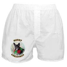 Merry Christmas W/Black Chihu Boxer Shorts