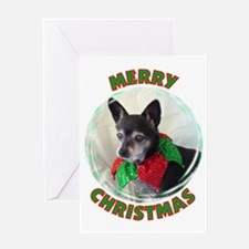 Merry Christmas W/Black Chihu Greeting Card
