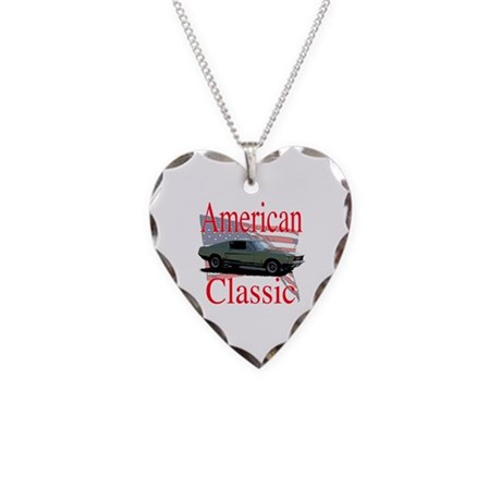 67 Mustang Fastback Necklace Heart Charm