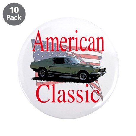 """67 Mustang Fastback 3.5"""" Button (10 pack)"""