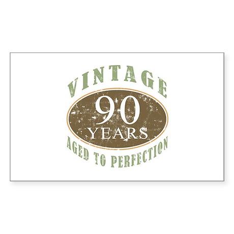 Vintage 90th Birthday Sticker (Rectangle)