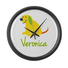 Veronica Loves Puppies Large Wall Clock